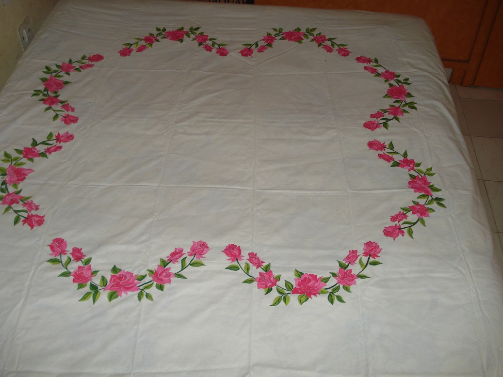 Painting Roses On White Bed Sheet
