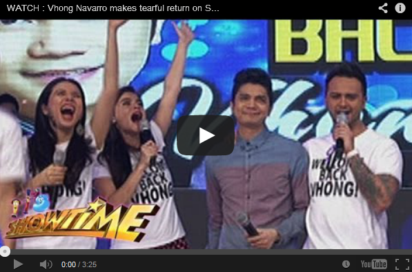 WATCH : Vhong Navarro makes tearful return on Showtime!