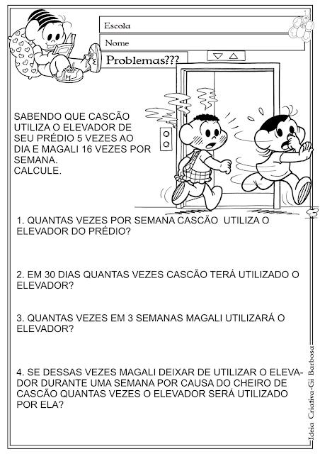 Problemas de Matemática Turma da Mônica 4º e 5 º Ano