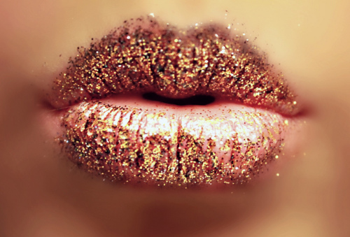 Pink Colorful Glitter Lip Art Makeup