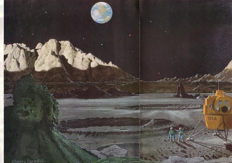 Bonestell: artystyczna wizja ladowania na ksiezycu