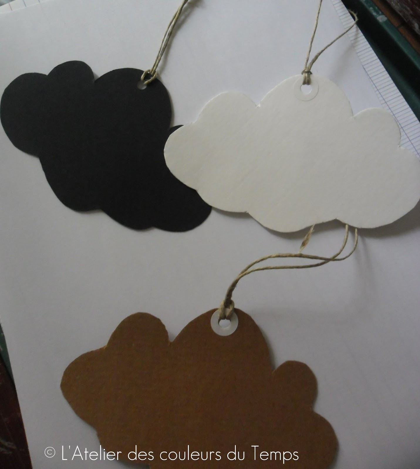 l 39 atelier des couleurs du temps lot etiquettes forme nuage noir kraft epais. Black Bedroom Furniture Sets. Home Design Ideas