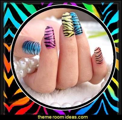 Nail Art Stickers Colorful Wild Zebra Design Nail Wraps Sticker Fashion Manicure Glitter Decor 3d Acrylic Decals
