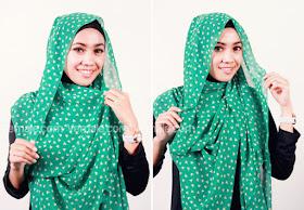 cara memakai hijab pashmina praktis 3