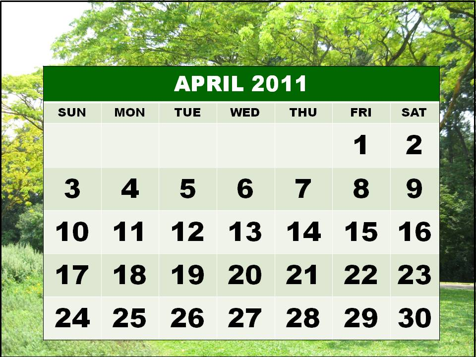 printable monthly calendar april 2011. monthly calendar april 2011.