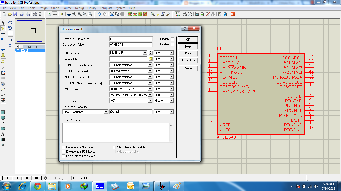 Avr Atmega8 Basic Io Programming And Simulation Microcontroller Proteus Circuit Software Free Open The Design Suite Pick From Components Library Double Click Device Properties Window Like This Image