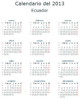 Calendario 2013 Ecuador fiestas feriados
