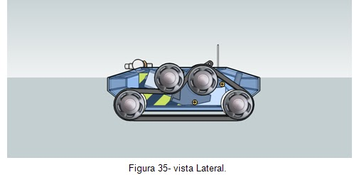 Vista lateral -  Veículo movido por esteiras Orbital