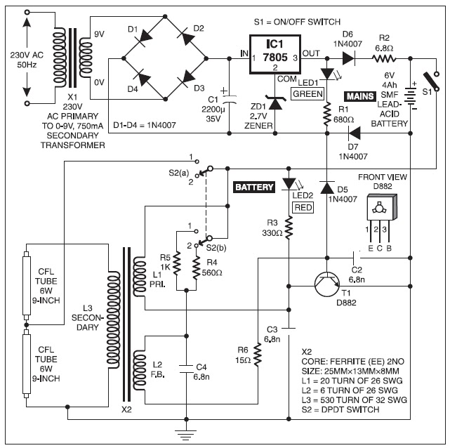 Versatile emergency light using fluorescent tubes project circuit project circuit diagram emergency lights using incandescent bulbs are inherently inefficient compared to those using fluorescent tubes ccuart Image collections