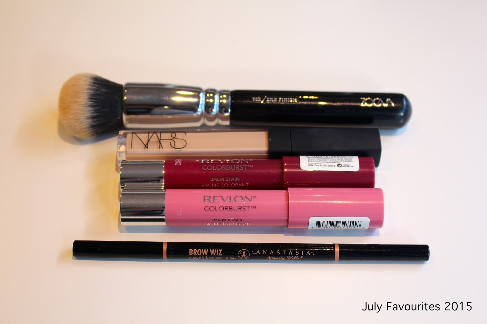 july 2015 monthly favourites, beauty favourites, book favourite, zoeva silk finish brush, nars radiant creamy concealer, revlon colorburst balm stain, anastasia brow wiz, leave your mark aliza licht