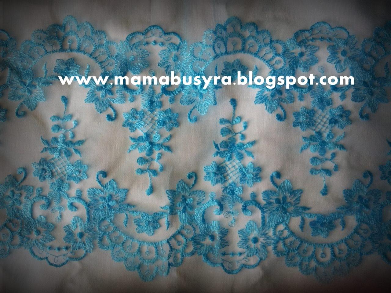 lace border turqoise blue single layer