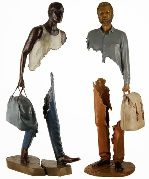 09-French-Artist-Bruno-Catalano-Bronze-Sculptures-Les Voyageurs-The-Travellers-www-designstack-co