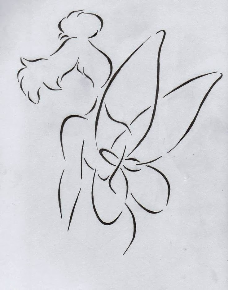 Fairy Tinkerbell tattoo stencil 24 (click for full size)