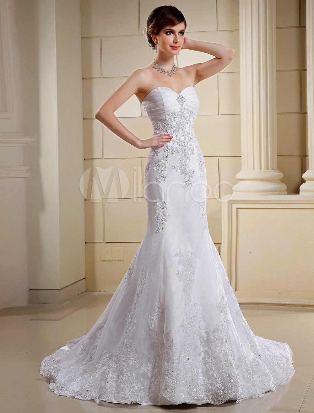 Lace Euro Style White Mermaid Trumpet Strapless Sweetheart Organza Satin Wedding Dress