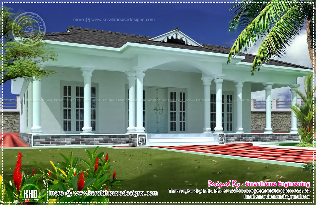 1600 sq ft single story 3 bed room villa home kerala plans for One story house plans with interior photos