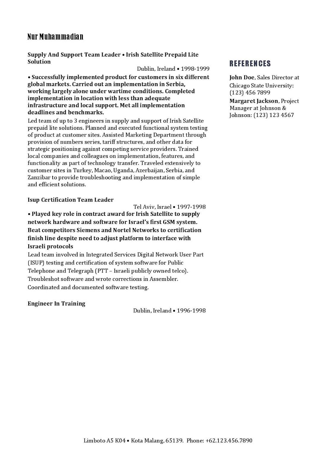Contoh Resumecurriculum Vitae Teknisi Telekomunikasi