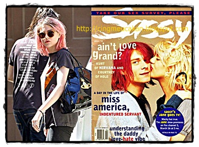 gaya rambut frances bean cobain warna pink persis ayah di majalah sassy