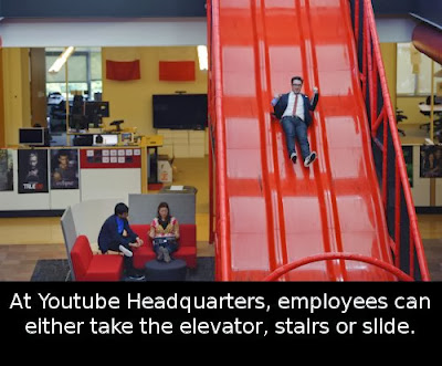 At YouTube Headquarters, employees can either take the elevator, stairs or SLIDE