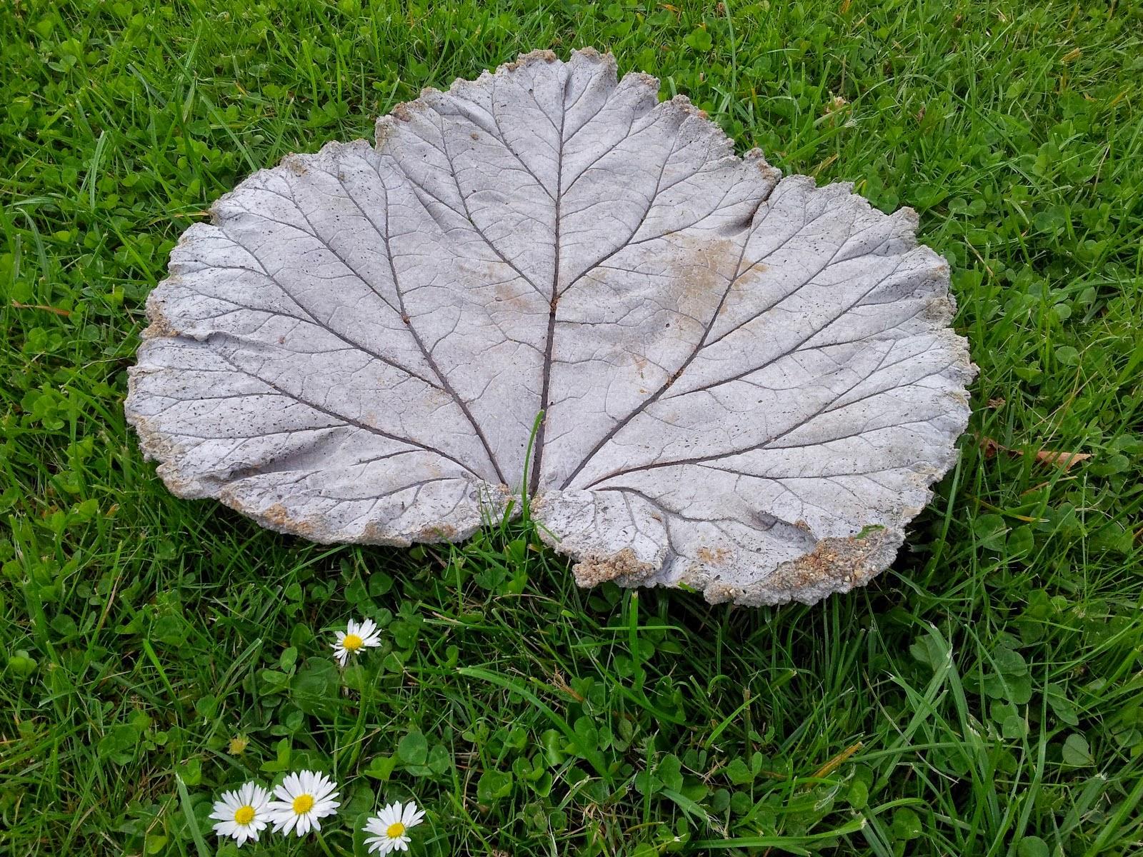 Sådan støber du rabarberblade i beton.