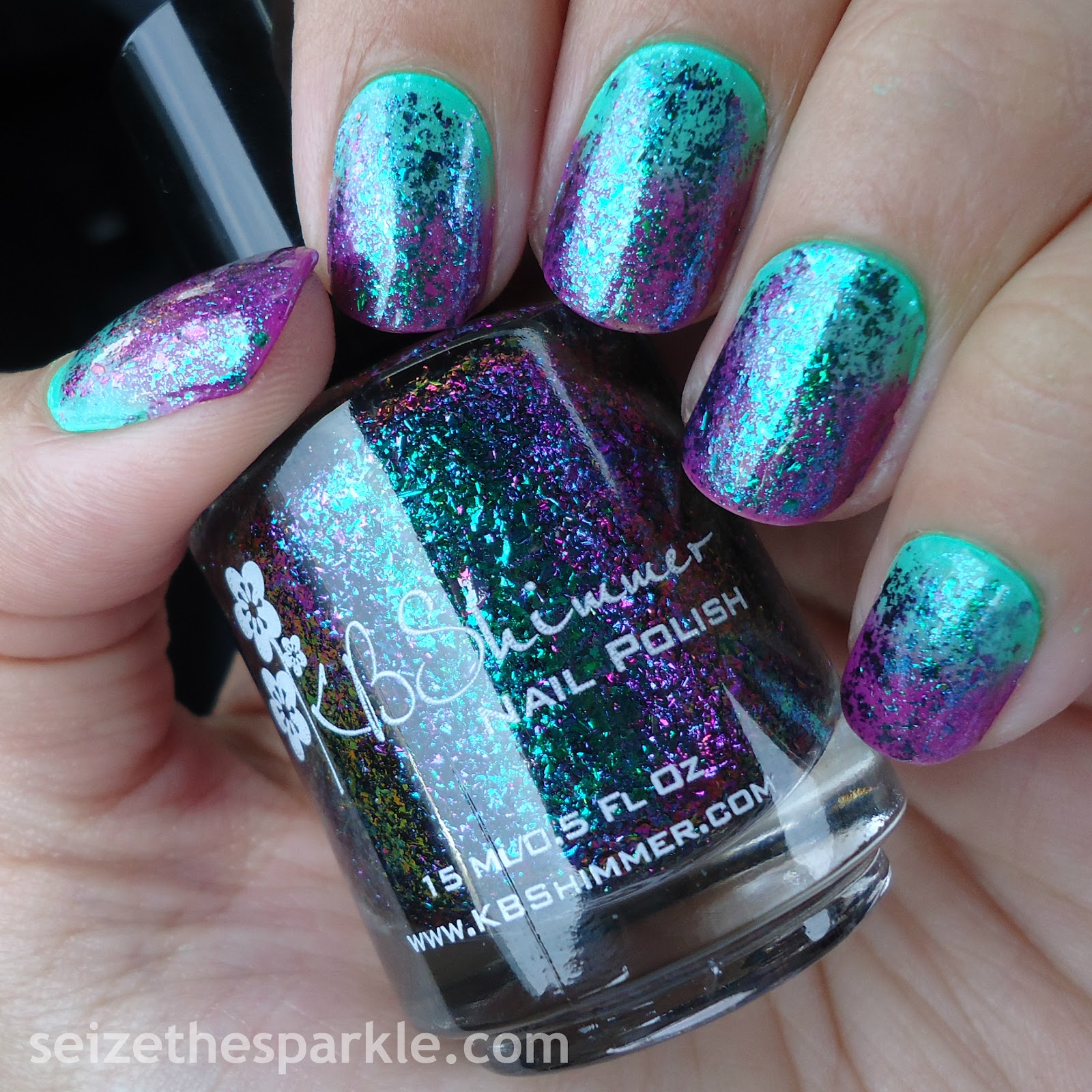 31dc2015 004 // green nails - seize the sparkle