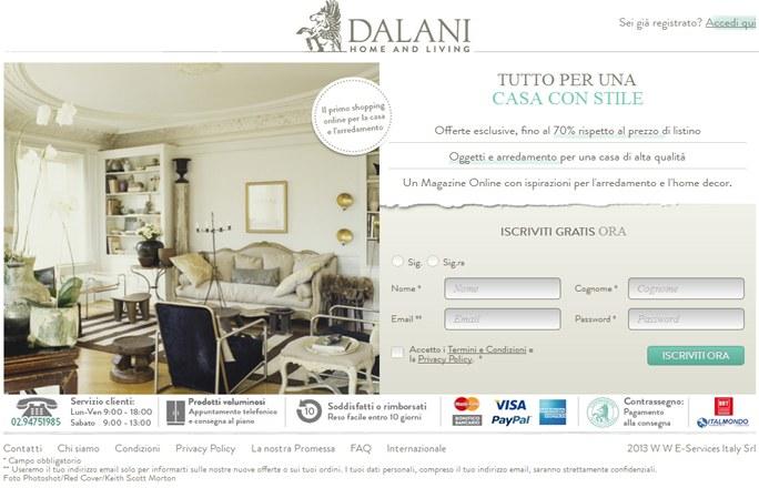 Form di registrazione Dalani