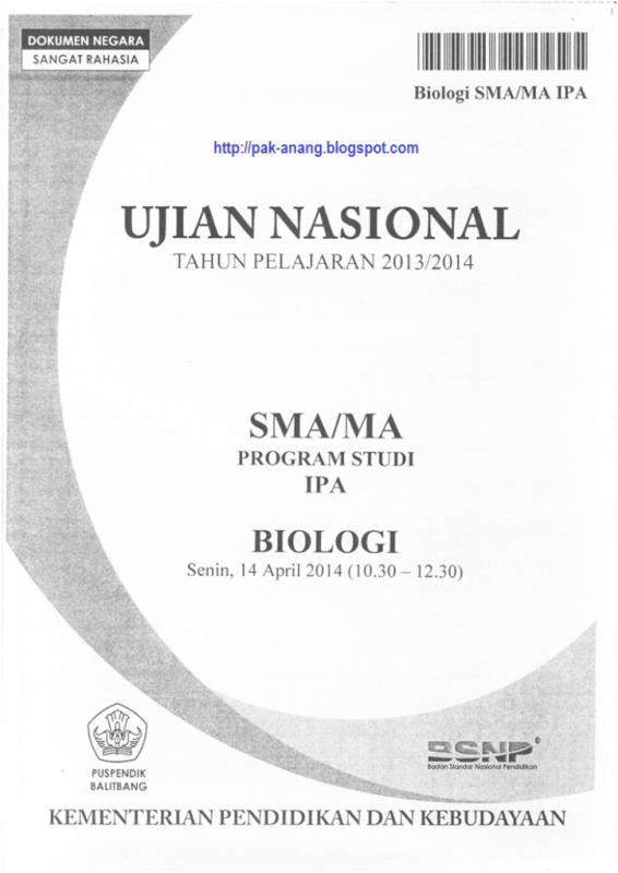 Naskah Soal Un Biologi Sma 2014 Paket 1