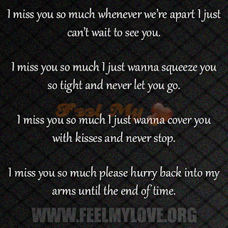 Miss you so much whenever we re apart i just can t wait to see you