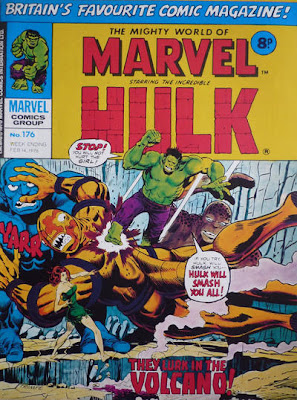 Mighty World of Marvel #176. Reprints the Incredible Hulk #170. The Hulk and Betty Ross/Talbot on an island of giant monsters.