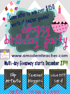Bloggy Birthday Giveaway www.amodernteacher.com