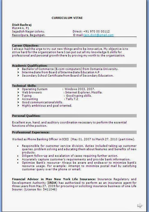 Career Objective For Banking Sector Resume