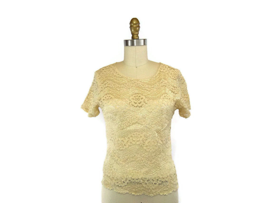 1980s Stretchy Cream Lace Top