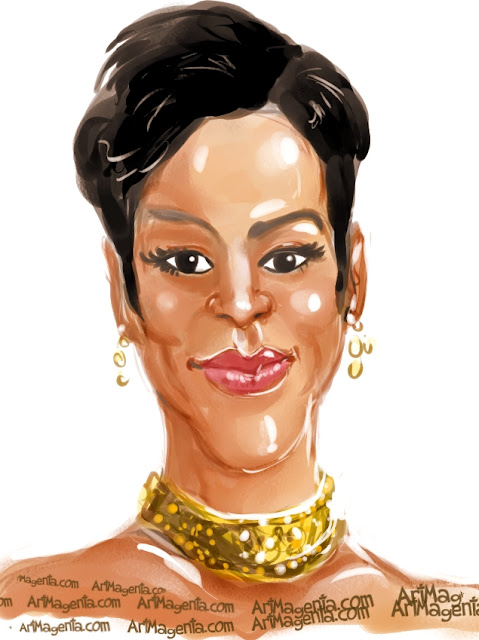 Rihanna caricature cartoon. Portrait drawing by caricaturist Artmagenta