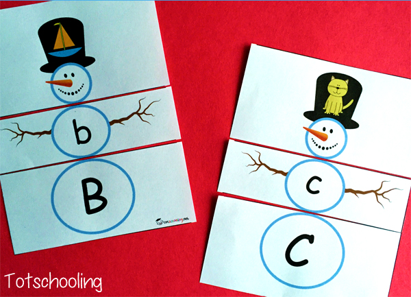 Snowman Letter Matching Puzzles