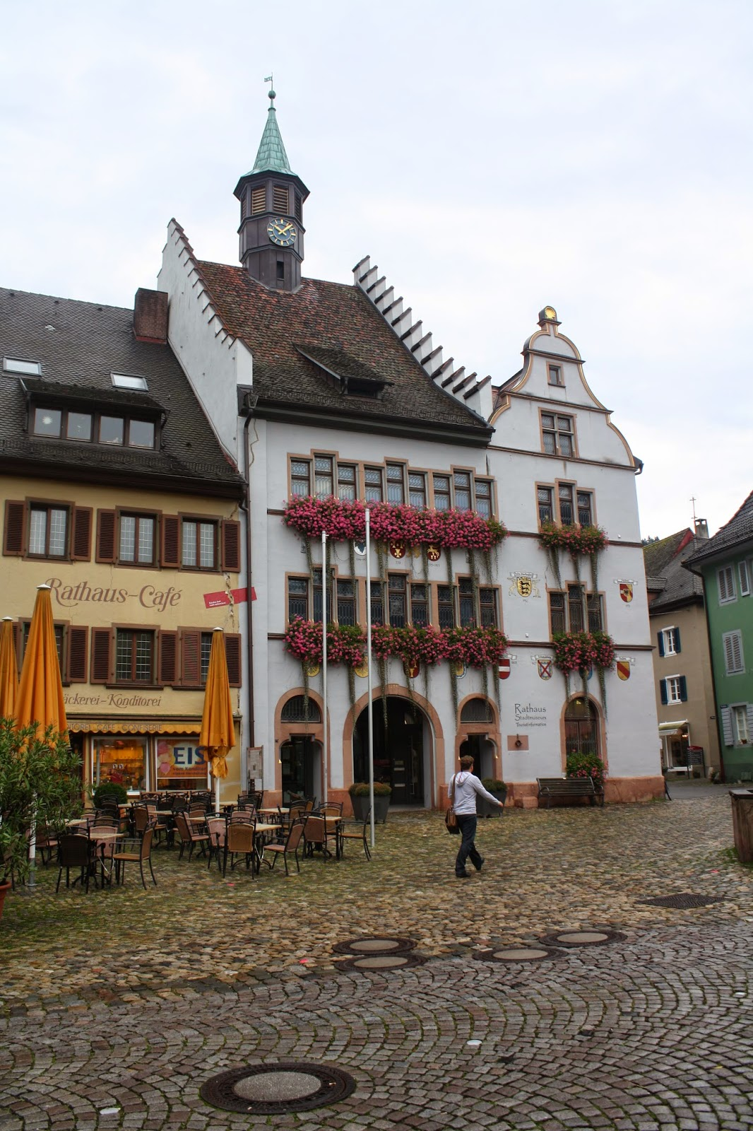 Town center square Staufen Germany lace up and walk