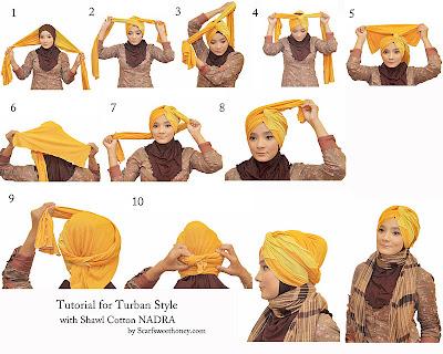 Cara Memakai Turban Style with Shawl Cotton NADRA