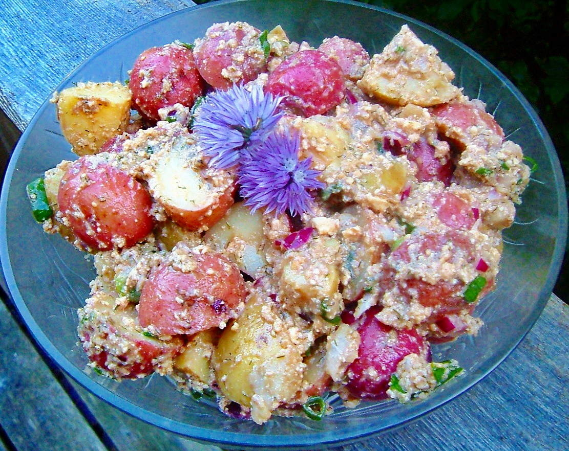 RED, WHITE AND BLUE POTATO SALAD FOR FOURTH OF JULY