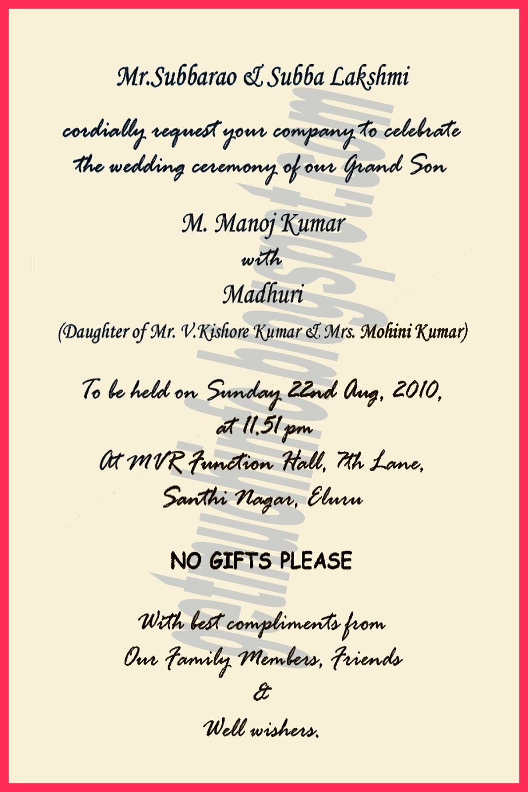 ... Information: Indian / Hindu Marriage Invitation Card Matter in English