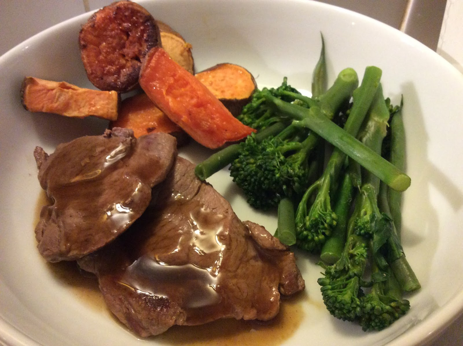lamb steaks, gravy, veg and sweet potatoes