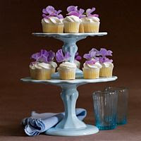 Mini Cupcake Wedding Cakes Decorated with Purple Flowers