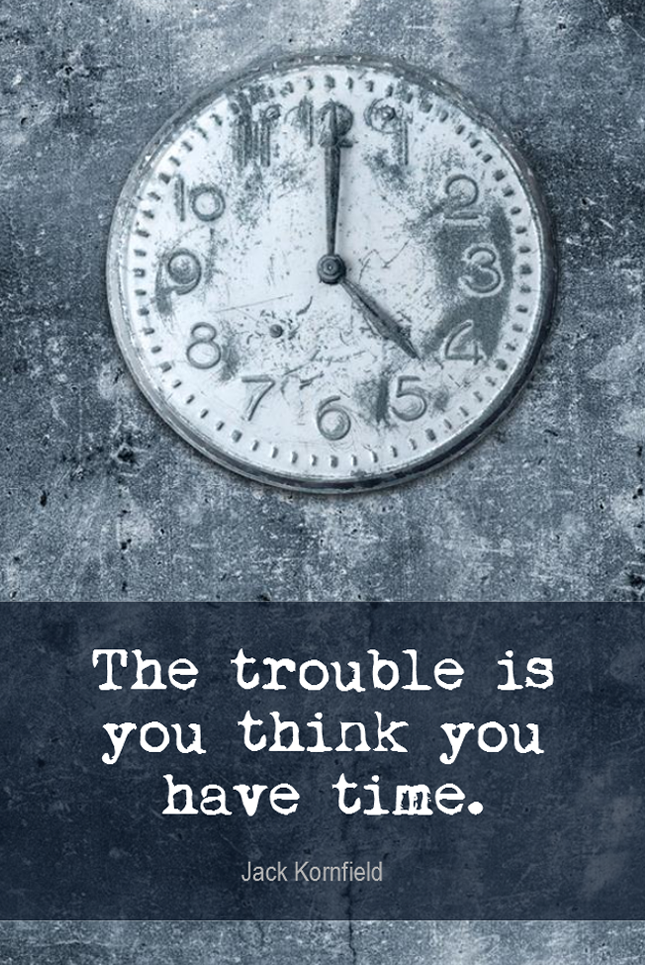 visual quote - image quotation TIME MANAGEMENT - The trouble is you think you have time. - Jack Kornfield