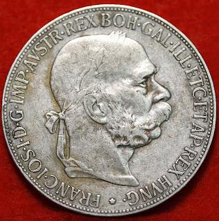 1900 Austria Silver 5 Corona Nice Foreign Coin Free S/H!!!