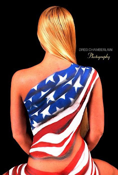 Watertown Model Amy Hunt Sports Patriotic Body Paint for Holiday