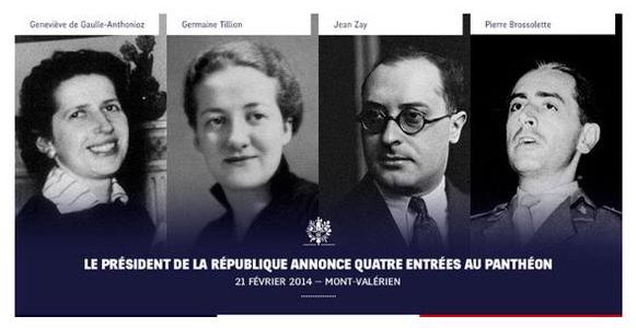 Panthéon Geneviève de Gaulle Pierre Brossolette Germaine Tillion Jean Zay