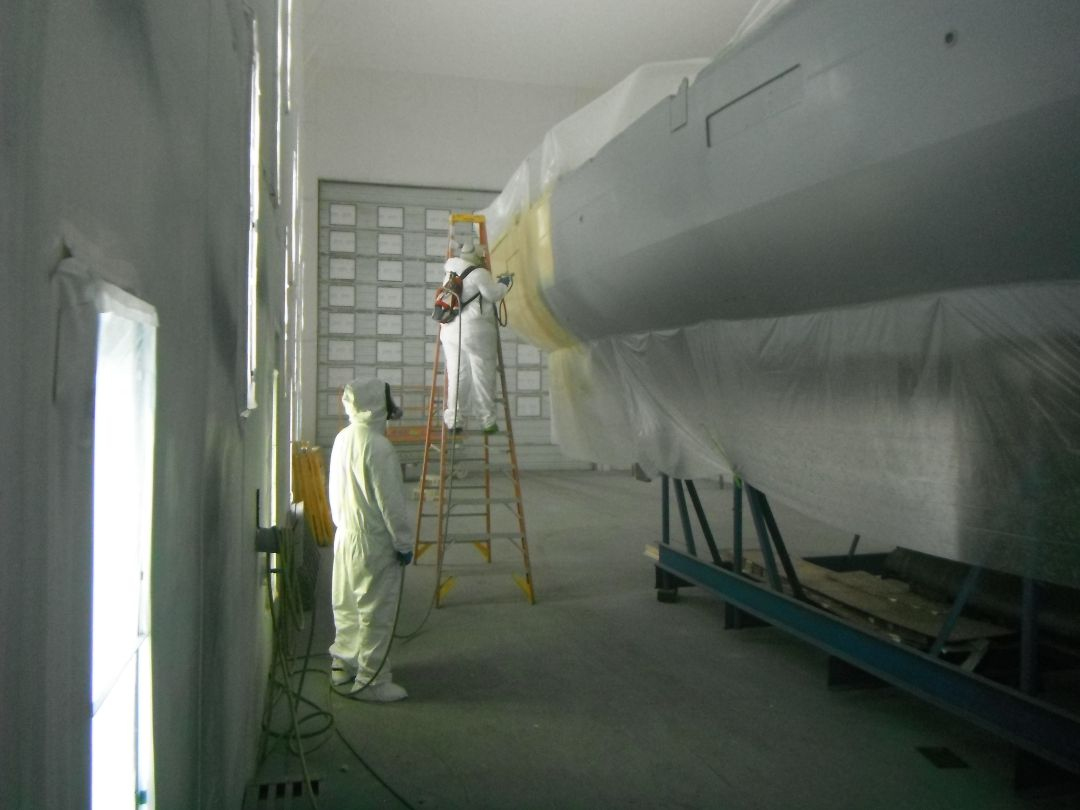 Beneteau Oceanis 45 with AwlGrip high build primer going on the hull