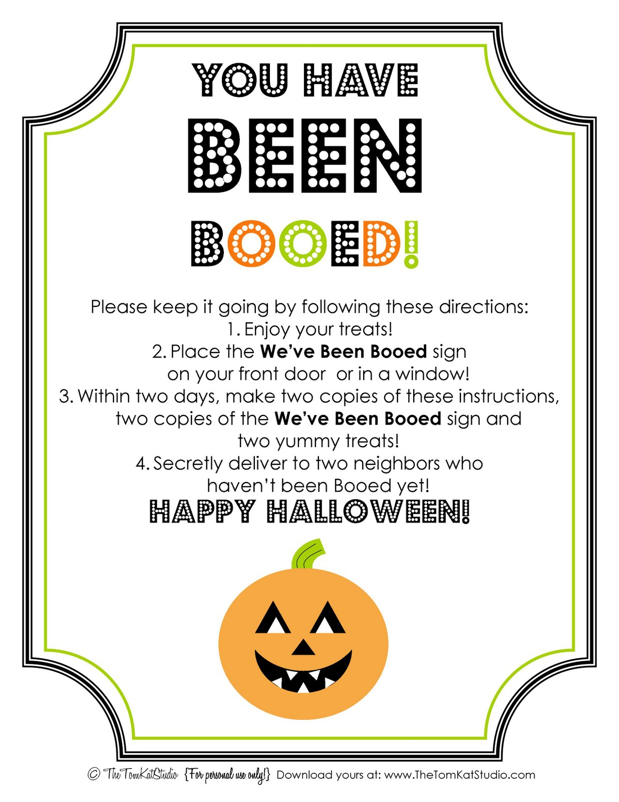 halloween free printable boo sign instructions - Halloween Following Directions