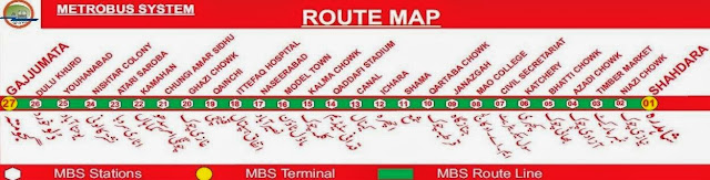 Metro Bus Lahore Stations