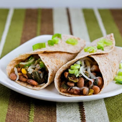 Spicy Vegetarian Pinto Bean and Chard Burritos