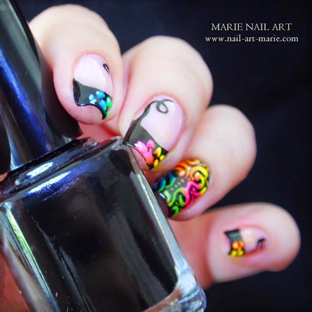 Nail Art Frenh et Arabesques Fluo9