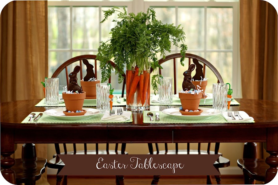 Easter chocolate bunny carrot centerpiece