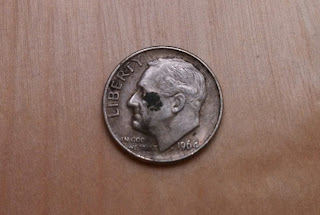 1964 silver dime found coin roll hunting black eye president funny coins dirty coins coin roll hunting finds